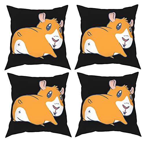 Mgbwaps Juego de 4 fundas de almohada decorativas de conejillo de indias de dibujos animados, fundas de almohada de 40,6 x 40,6 cm, fundas de cojín cuadradas, fundas de cojín para sofá, sala de estar