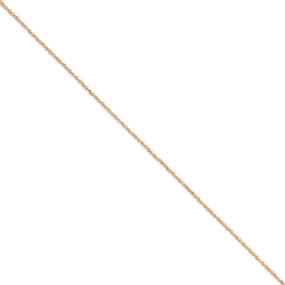 14K Rose Gold 1.7mm Ropa Chain Anklet