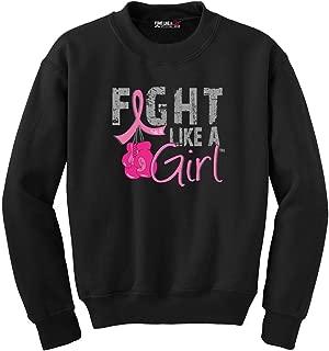 Fight Like a Girl Boxing Glove Breast Cancer Fleece Sweatshirt Unisex