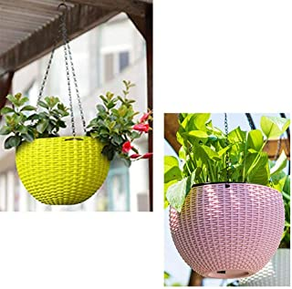 Generic (Yellow and Pink) 2 pcs Round Plastic Resin Chain Basket Hanging Planter Hanging Flowers and Plants,Growers