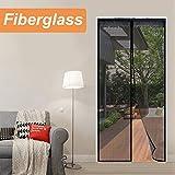 Reliancer Fiberglass Magnetic Screen Door 36'x80' Large Magnet Patio Door Mesh Curtain for Door Opening Up to 34' x79' W/Full Frame Hook and Loop Tape Outdoor Patio(Fiberglass, 36'X80')