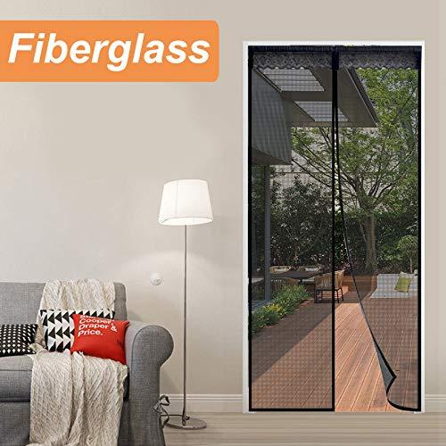 Reliancer Fiberglass Magnetic Screen Door 38'x82' Large Magnet Patio Door Mesh Curtain for Door Opening Up to 36' x81' W/Full Frame Magic Tape Outdoor Patio(Fiberglass, 3882)