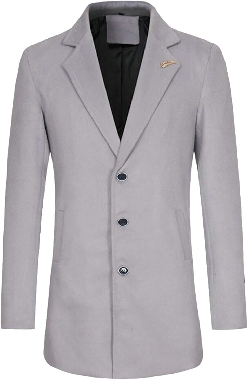 Veepola Men Jacket Winter Warm Overcoat Outwear Long Trench Buttons Coat