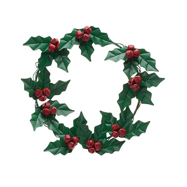 "Holly and Berries Metal Wreath by Fox River Creations, Winter Holiday Décor, 14"" Diameter"
