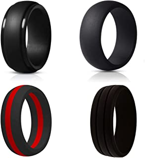 Black Silicone Rings, Wedding Bands for Men, Geometric Metallic Wide Rubber Ring, Simple Comfortable Skin Safe - Lifetime Quality Promise