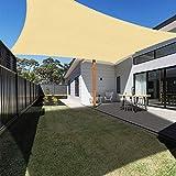 Ankuka 3m x 4m Rectangle Sun Shade Sail Water Resistant Outdoor Garden Patio Cream Sun Sail Waterproof Shade Sail Canopy 98% UV Block With Free Rope (Beige)