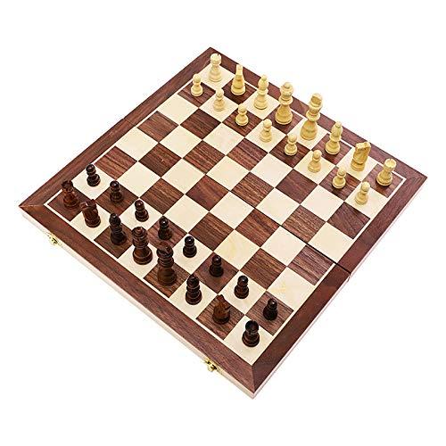 QfireQ 3 en 1 Juego de ajedrez de Madera,Juego de ajedrez de Rompecabezas Plegable y fácil de Llevar Tablero de Juego Portátil para Viajar con Almacenamiento Interior Plegable,Marrón,29 * 29cm