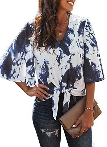 HIKARO Damen Bluse im Fledermaus Look Tunika mit V-Ausschnitt und breitem Bund Blusenshirt Schwarzweiß S