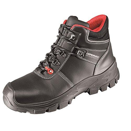 Lupriflex 1 Paar Bauflex Waterproof Wasserdichter Mittelhoher Sicherheitsschuh, S3, Schuhweite 12, Rot/Schwarz Größe 50