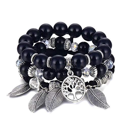 Bracelet Arbre De Vie Bracelet pour Femmes Femme Multicouche Pierre Naturelle Boho Feuille Charmes Perles Bracelets Ensemble Bijoux Cadeau If11000621-1