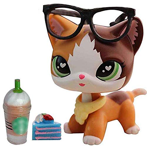Judylovelps lps Custom Shorthair Cat Meow Custom Kitty Yellow and Brown Heart Green Eyes with lps Accessories Drinks Cake Kids Gift