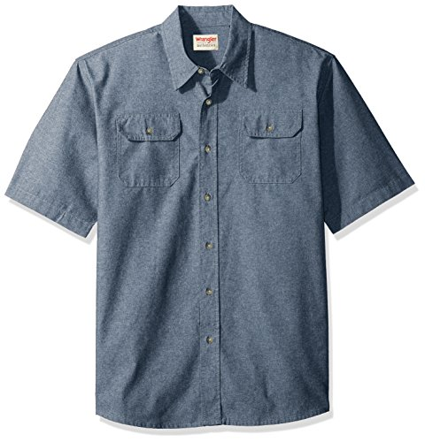 Wrangler Authentics Men's Short Sleeve Classic Twill Shirt, Dark Chambray, 2XL
