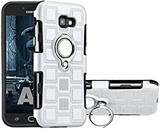 Protective Case Compatible with Samsung Protection Case with Rotating Finger Ring Holder Kickstand Fit Magnetic Car Mount compatiable Samsung Galaxy A7 2017 A720 Phone case (Color : Silver)