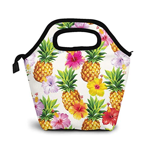 Reusable Lunch Bag,Fresh Yellow Pineapple Lunch Bag Picnic Office Outdoor Thermal Carrying Gourmet Lunchbox Colorful Flower Floral Lunch Tote Container Tote Cooler Warm Pouch for Men,Women
