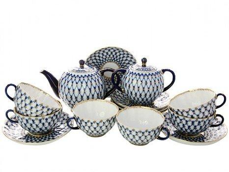 Lomonosov Porcelain Tulip Cobalt Net Tea Set 6/14: Tea Pot, Sugar Bowl and 6 Cups with Saucers