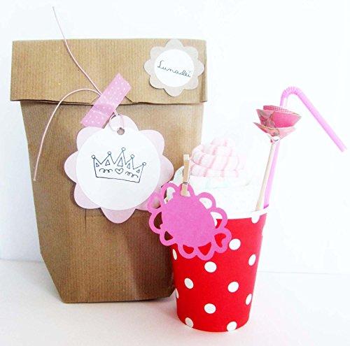 Originelles Geschenk-Ideen für Babys | Milkshake gemacht mit Socken Marke Baumwolle (Größe 1-6 Monate) und Windel Dodot | Baby-Dusche-Geschenk-Idee | Rosa Ton für Sissies