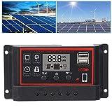 con función de Memoria de Apagado Regulador de Carga Solar de generación de Calor Ultra bajo Panel de Celdas USB Dual 12V / 24V para Sistema de energía Solar(10A)