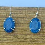 Pendientes de plata de ley 925 con piedra aventurina azul,...