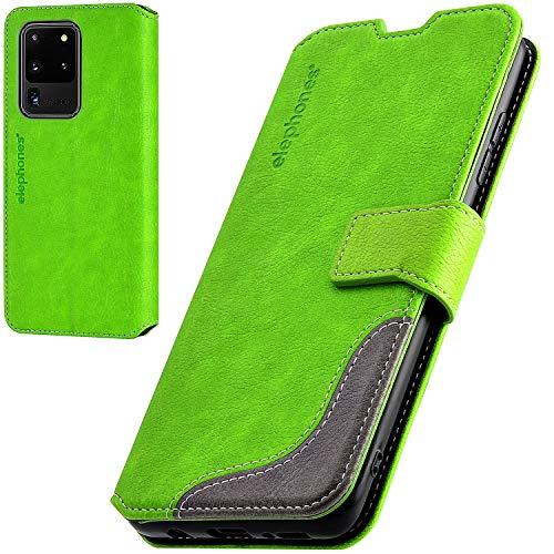 elephones Handyhülle für Samsung Galaxy S20 Ultra Hülle mit RFID-Schutz aus PU Leder Samsung Galaxy S20 Ultra Schutzhülle Flip Hülle Klapphülle Handytasche für Samsung S20 Ultra 5g Grün