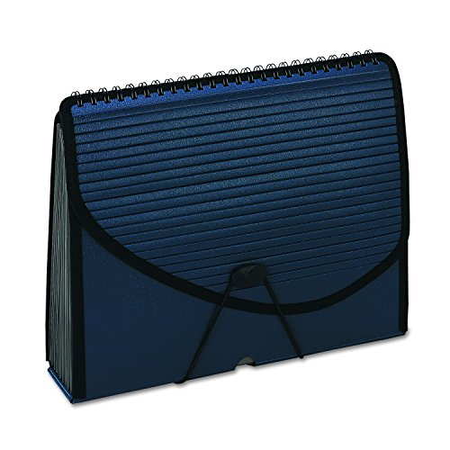 Pendaflex 01119 13-Pocket Expanding Spiral File, Letter, Foam Poly, Navy Blue