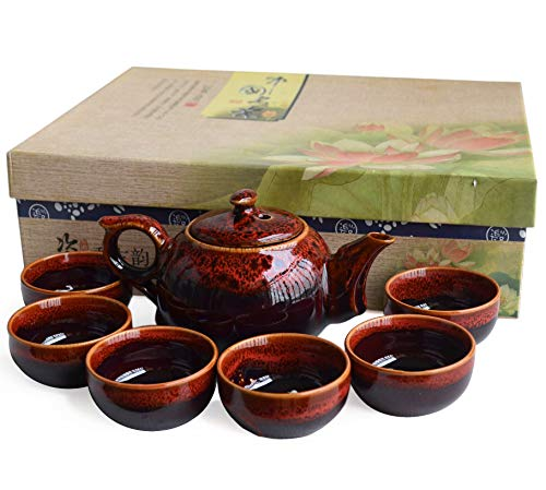 7-teiliges chinesisches Keramik-Teeservice, Porzellan-Teekannen mit 6 Teetassen, Kungfu-Teeservice