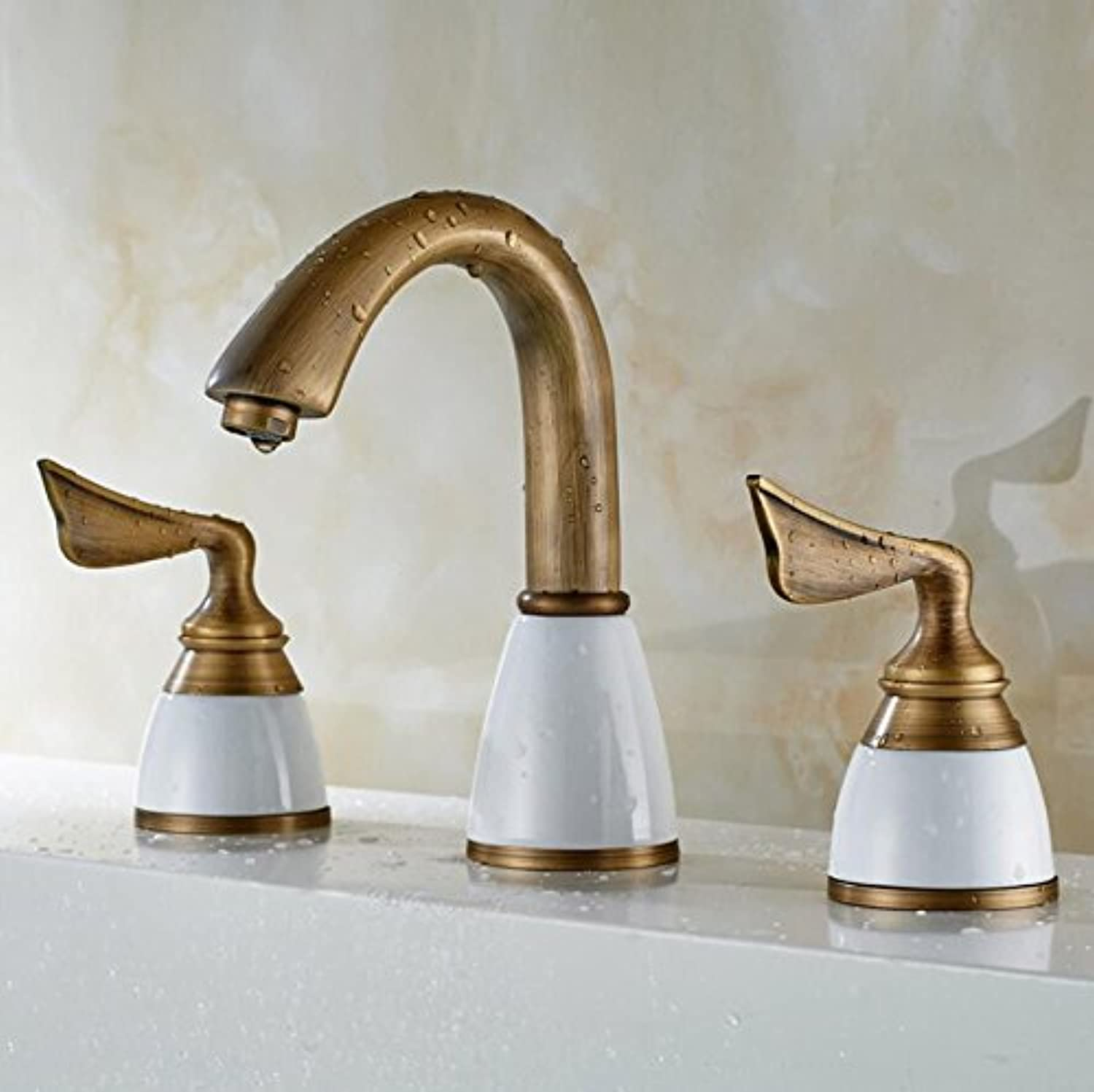 AQMMi Basin Sink Mixer Tap for Lavatory Copper Antique Hot and Cold Water 3 Holes Brushed Bathroom Vanity Sink Faucet