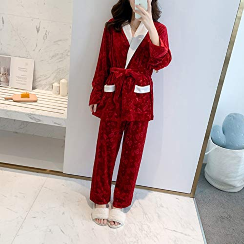 LXDWJ 2 unids Dorado Velvet Warm Invierno Pijamas Lencería Pijama Sets Bathrobe Traje Sleepwear Pijamas para Mujeres Homewear (Color : A, Size : Medium)