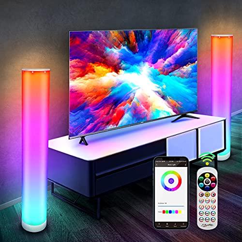 Lampadaire LED Bluetooth, 2 Pièces CGN RGB LED Lampadaire Salon sur Pied Moderne Lampe d'Ambiance Multicolore Dimmable avec Télécommande et APP Contrôle Eclairage LED Decoration à l'Intérieur(104CM)