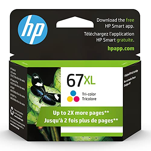 Original HP 67XL Tri-color High-yield Ink Cartridge | Works with HP DeskJet 1255, 2700, 4100 Series, HP ENVY 6000, 6400 Series | Eligible for Instant Ink | 3YM58AN