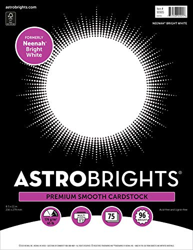 Astrobrights/Neenah Bright White Cardstock, 8.5' x 11', 65 lb/176 gsm, White, 75 Sheets (90905-02) - Packaging May Vary