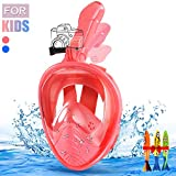 E-MANIS Máscara de Buceo,Plegable Máscara Snorkel 180 °Cara Completa de Panorámico Visión Tecnología Anti-vaho Anti-Fugas Mascara Snorkel Apoyo Camara Deportiva para Niños (Rosa)