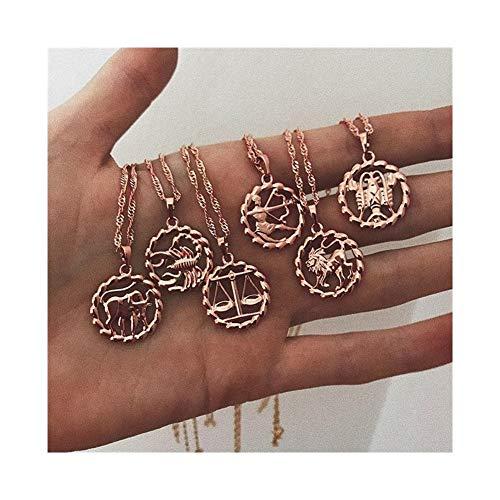 YUANYUAN520 Collar Colgante for Las Mujeres 12 Constelación del Zodiaco del Yellow Rose Gold Filled for Mujer Collares de Forma Redonda Moda Joyería (Metal Color : Scorpio)