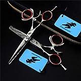 AMITD Schere für die Linke Hand 5.5 Zoll Modern Fashion Effilierschere Profi-Set Frisieren mit 360 ° Drehgriff Hair Salon Werkzeuge