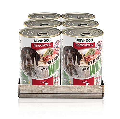 BEWI DOG Fleischkost reich an Wild [800 g] Dose | Nassfutter für Hunde | getreidefrei | sortenrein | Muskelfleisch & Innereien mit fester Fleischstruktur | 6 x 800 g