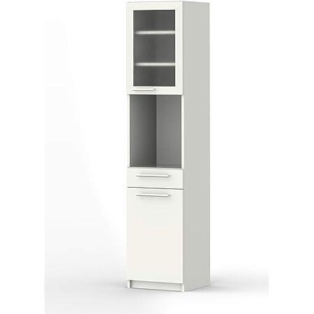 パモウナ 食器棚YC プレーンホワイト 幅40.4×高さ180×奥行40 日本製 YC-S400R