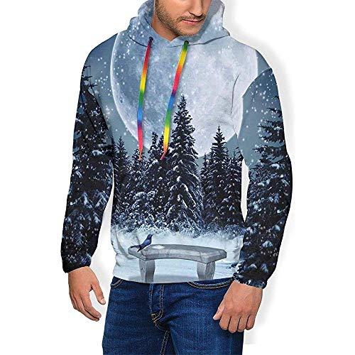 Alan Connie Männer 'S Hoodie Verdicken Flusen Sweatshirt, Trostlose Skizze Haus Auf Hügel Pagode Pavillon Brücke Getrocknete Bäume Fischer,2XL
