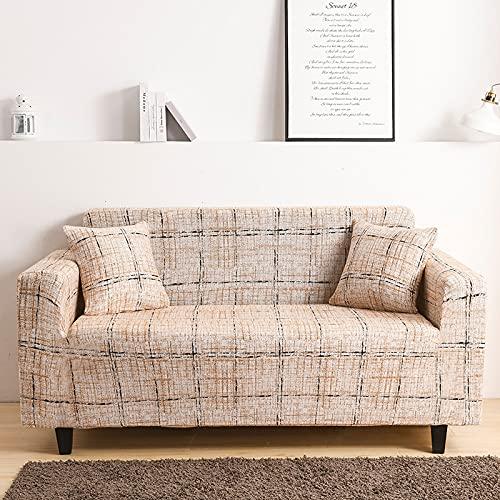 ASCV Funda de sofá Gris de Alta Elasticidad, Funda de sofá con patrón de Colores, Funda de sofá Universal Ultrafina, Funda de sofá pequeña, Mascotas para niños A1 4 plazas