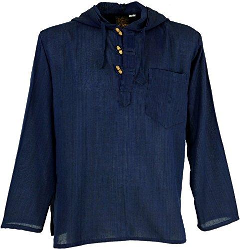 Guru-Shop Nepal Hemd, Goa Hippie Sweatshirt, Yogashirt, Herren, Blau, Baumwolle, Size:XXL, Hemden Alternative Bekleidung