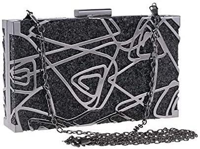 Women's Evening Handbags Small Square Bag Metal Hand Bag Banquet Bag Hollow Evening Bag Chain Clutch Bag (Color : Black)
