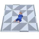 qqpp Alfombra Puzzle para Niños Bebe Infantil - Suelo de Goma EVA Suave. 32 Piezas (35*35*1cm), 16 Piezas De Borde Recto, Triángulo,Blanco & Gris. QQT-Lu32S16