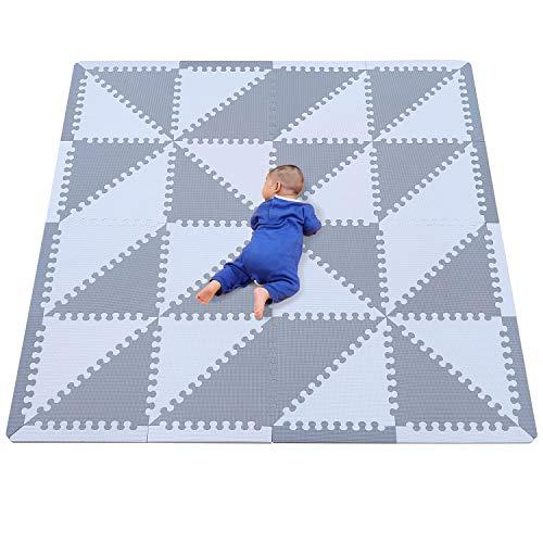 qqpp Puzzlematte ✔32 TLG. Kinderspielteppich Spielmatte Spielteppich Schaumstoffmatte Matte ✔ Kälteschutz ✔abwaschbar ✔bunt ✔phantasiefördernd (Dreieck, grau)—— QQP050Z3510HUI