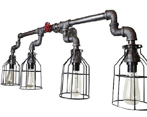 Wall Sconce Industrial Lighting w/ Cages, Black Pipe Bathroom vanity light fixture, vintage Edison Light bulbs, Electric wall sconce lighting