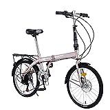 Bicicleta Plegable para Hombres y Mujeres, Bici 20 Pulgadas Adulto con Frenos de Disco Dobles de Velocidad Variable para Trabajo Ligero con Luces Traseras y Canasta para Automóvil