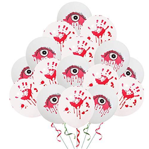 WSKRNGEY Globos De Fiesta,50 Equipos De 12 Pulgadas Halloween Globos Globo De Látex Gruesa Parte Divertida Decoración Imprimir Sangre Sangre del Globo Ocular Mezclados A Mano
