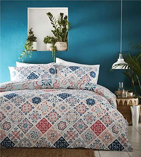 Homemaker Bedding - Juego de Funda de edredón y Fundas de Almohada con Estampado de Azulejos marroquíes, algodón poliéster, Verde Azulado, Matrimonio Grande