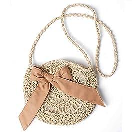JOSEKO Sac à bandoulière tissé en paille pour dames, sac messager tissé à la main, à la mode et décontracté, adapté pour…