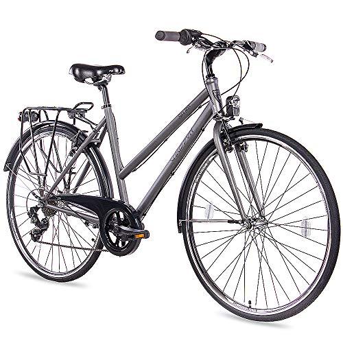 CHRISSON 28 Zoll Citybike Damen - City One anthrazit matt 50 cm - Damenfahrrad mit 7 Gang Shimano Tourney Kettenschaltung - praktisches Cityfahrrad für Frauen