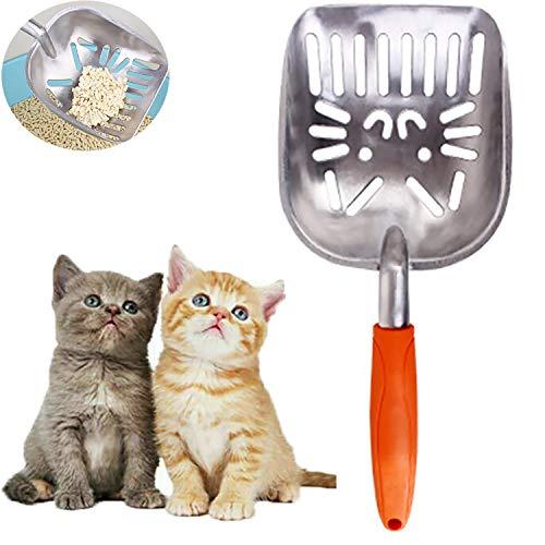 letuxiashop Metall Katzenstreu Schaufel, Haustier KOT Schaufel langlebig und für Haustiere geeignet. Bequemer Gummigriff, Spatel mit großem Durchmesser ist bequemer zu bedienen