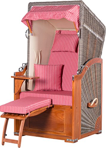 Möbelpromenade Strandkorb List Mahagoni Einsitzer PE grau Dessin Royal Rot