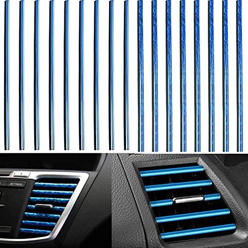 4X10 PCS Tira Moldura Interior de Coche, Tira de Decoración para Salida de Aire del Aire Acondicionado de Coche, Líneas de Moldura Flexible Decorativa Coche (Azul + Azul Hielo)